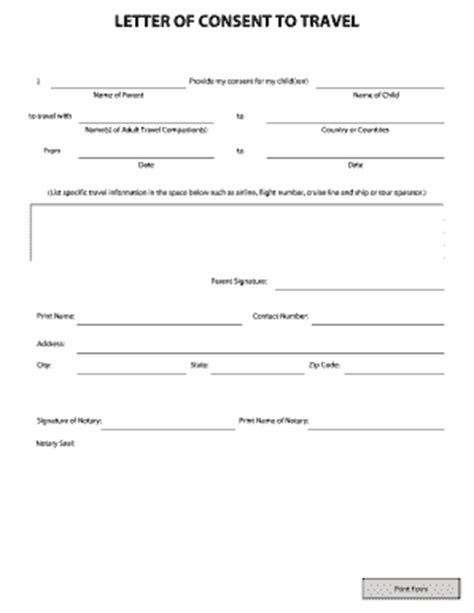 letter of permission to travel 27 printable child travel consent form templates 7862