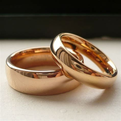 tungsten carbide rose gold plated his her wedding band