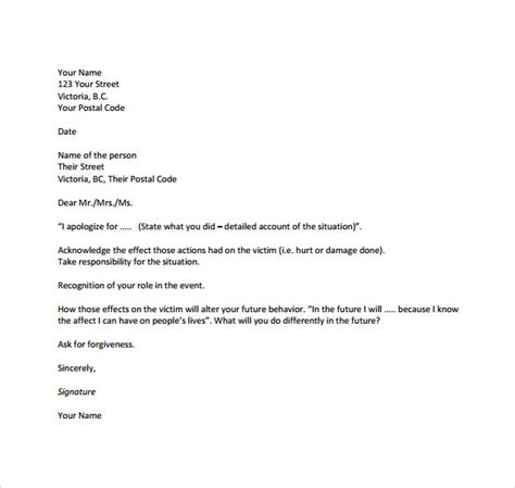 sample formal apology letters   sample templates