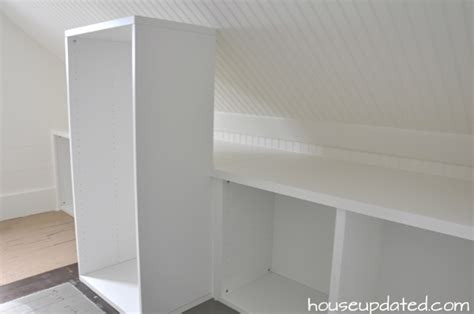 organization and storage for sloped ceiling closet house