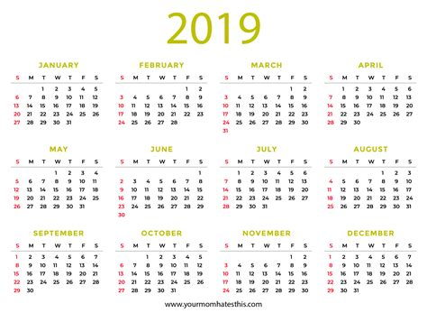 Download Printable Pdf Calendar Templates
