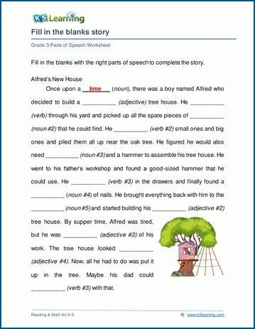 grammar story worksheet  learning