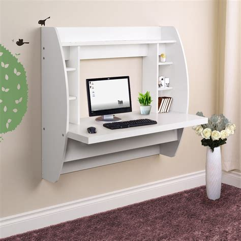 wall mounted floating computer desk  storage home