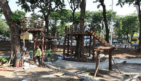 Nah, ini juga banyak sih yang kayak gini. FOTO: Pembangunan Taman Rumah Pohon di Tomang - News Liputan6.com