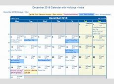 Print Friendly December 2018 India Calendar for printing