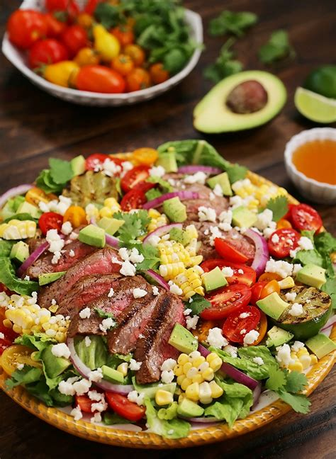 mexican grilled steak salad  honey lime dressing