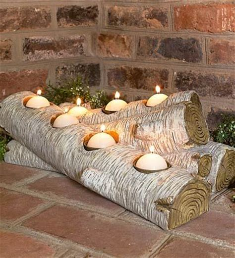 log candles for fireplace artificial log candle holder for inside the fireplace from plow hearth wonder if i could