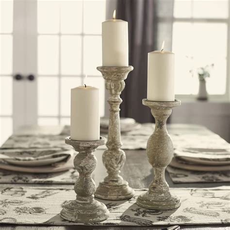Farmhouse Home Accents   Aged Grey Candlestick ? Sm