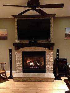 Stone, On, Fireplace, With, Tv, Mounted, Over, Mantle