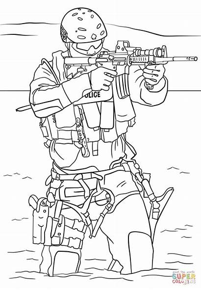 Coloring Pages Swat Team Police Truck Cop