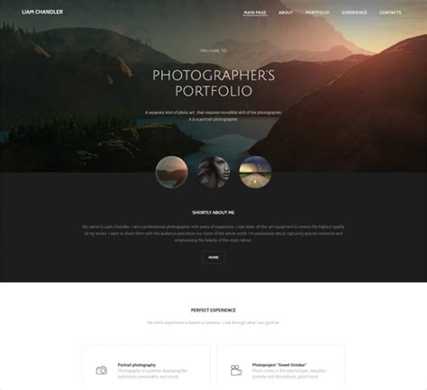 photographer website themes templates design