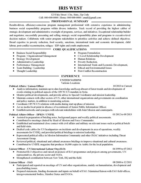 Resume For Un by Professional Political Affairs Liaison Officer Templates