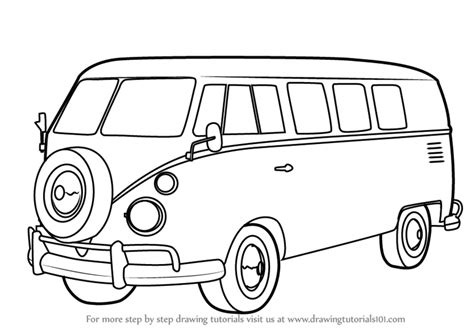 volkswagen bus drawing learn how to draw volkswagen bus other step by step