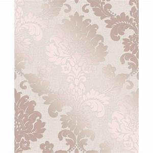 Quartz Damask Wallpaper - Rose Gold Wallpaper - B&M