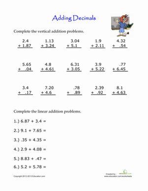 practice adding decimals worksheet education