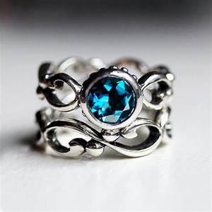 blue topaz engagement ring set bezel engagement ring With london blue topaz wedding ring set