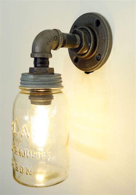 mason jar light  plumbing pipe fixture green diy