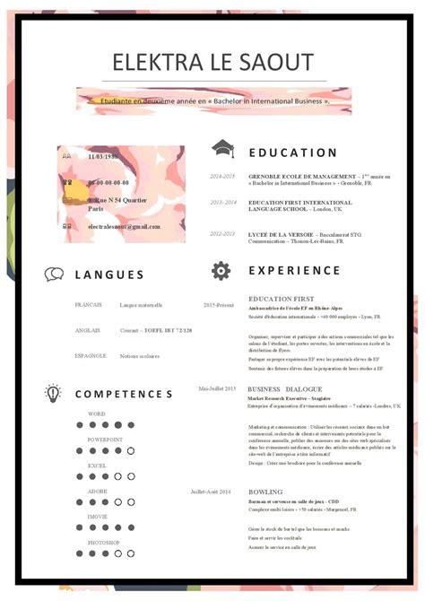 Exemple De Cv Pour étudiant by Cv Moderne Etudiant Exemple De Cv Essaie 1 Cv