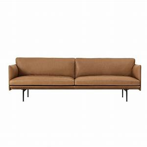 Outline 3 seater sofa cognac silk leather muuto for Canape cuir items