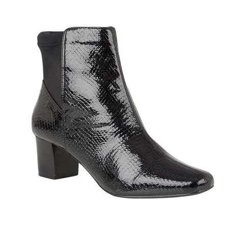 black swallow patent snake print ankle boots lotus