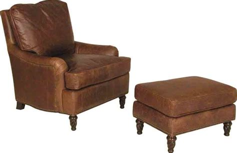 distressed top grain leather club chair with ottoman ebay