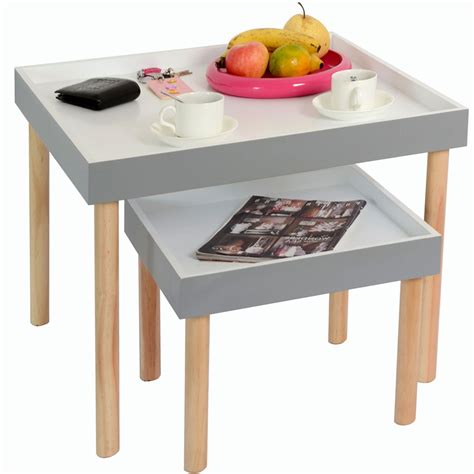 rayleigh set   tray tables grey white pine