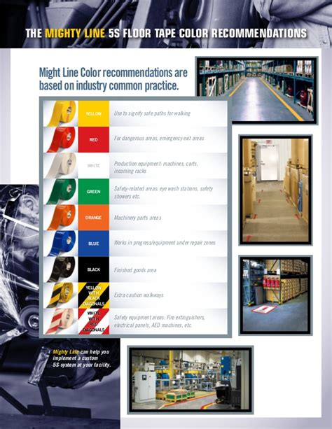 5s color code 5s floor marking tips and 5s color standards