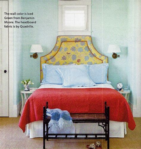 Quadrille Fabric On Headboard, Iced Green Paint On Walls