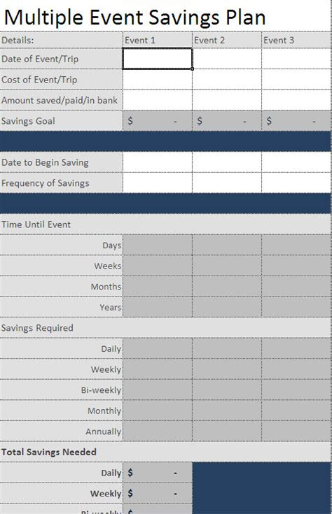 savings planner template  excel savings planner