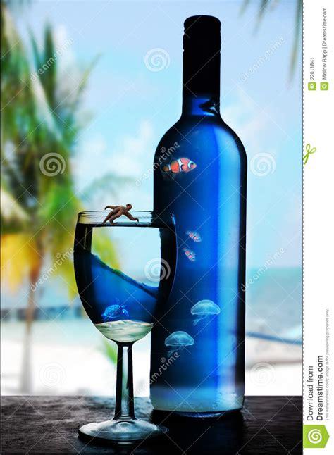 blue glass  bottle  wine stock image image