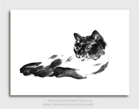 Abstract Black Cat Painting by Cat Black Cat Painting Cat Dekor Abstract By