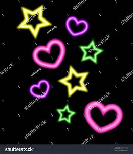 Neon Style Hearts Stars Vector Illustration Stock Vector ...