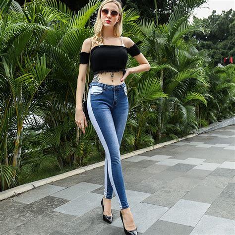 Betikama Sex Push Up Skinny Jeans Women Blue White