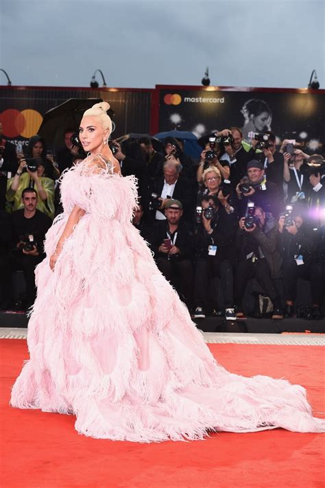 lady gaga pink valentino dress  venice film festival popsugar fashion photo