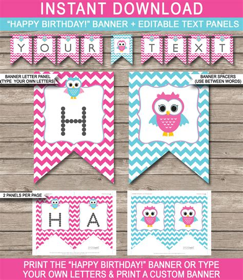 owl birthday banner template birthday banner editable
