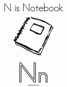 N is Notebook Coloring Page - Twisty Noodle