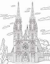 Coloring Cathedral Pages Adult Printable Colouring Architecture Sheets Coloringgarden Drawing Pencil Template Drawings Adults Pen Paper Quilling Mandala Pdf Format sketch template