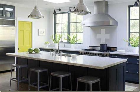Kitchen Design Ideas Dark Cabinets - yellow color accents jazz up elegant dark gray kitchen decorating