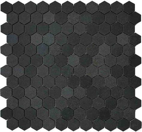 black hexagon floor tile 1 quot hexagon basalt mosaic tile
