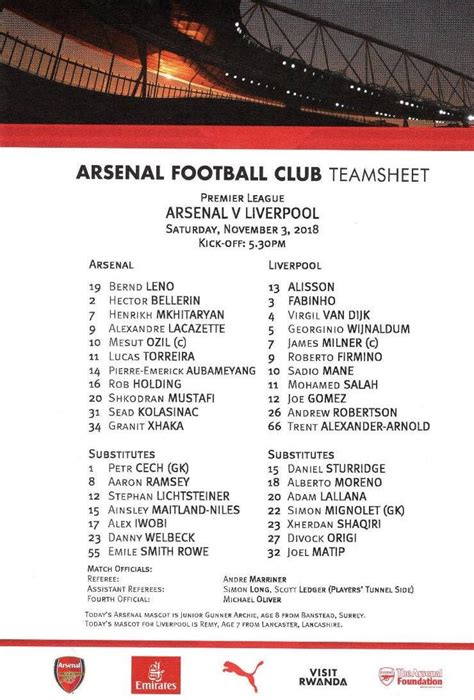 matchdetails  arsenal liverpool played  saturday