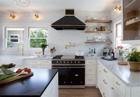White Kitchen with Black Window Moldings   Contemporary
