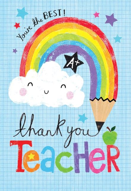 rainbow pencil   card  teacher  island