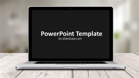 laptop screen powerpoint template slidesbase