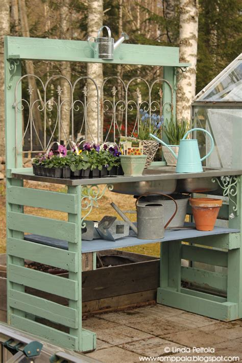 Diy Garden Potting Table Using Pallets Old Sink Romppala