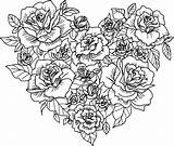Coloring Roses Heart Printable Rose Pages Flower Sheets sketch template