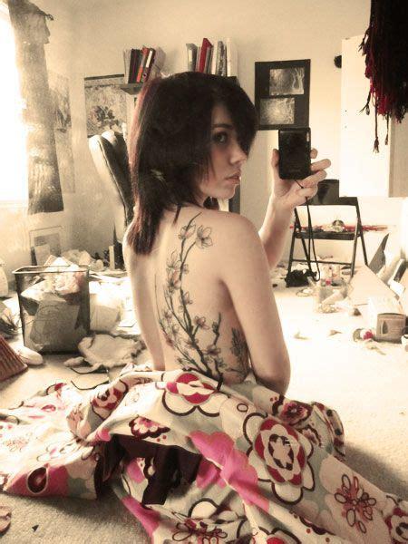 girls cherry blossom branch tattoo     side