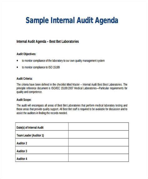 audit agenda templates   word  format downlaod