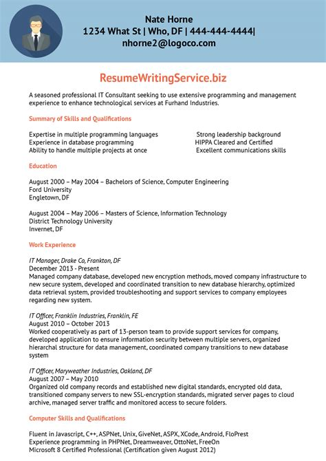 information technology consultant resume sample