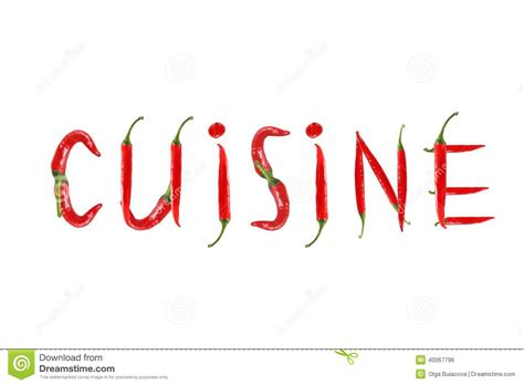 phrase cuisine chili pepper isolated word cuisine stock photo