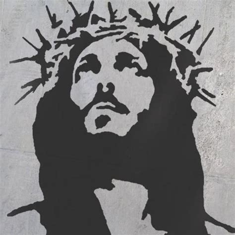 Abstract Jesus Black And White by Jesus Stencil Stencils Religions Wall Decorative